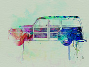 Vintage Car Drawings Prints - Ford Woody Print by Irina  March