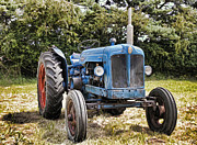 Machinery Digital Art Posters - Fordson Power Major Tractor Poster by Peter Chapman