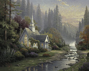 Stream Prints - Forest Chapel Print by Thomas Kinkade