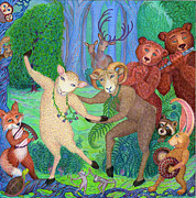 Animals Drawings - Forest Dance by Debra A Hitchcock
