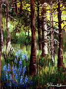 Print Pastels Originals - Forest Evening Glow by Carol Kovalchuk