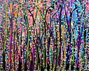 Abstract Expressionist Art - Forest Glow by Suzeee Creates