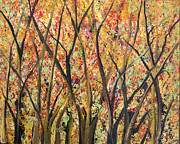 Tree Blossoms Paintings - Forest Golds by Suzeee Creates