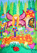 Mushrooms Drawings Posters - Forest Grove Fairy Poster by Nick Gustafson