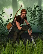 Athletic Digital Art - Forest Hunter by Fairy Fantasies