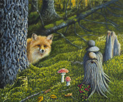 Peaceful Places Paintings - Forest life by Veikko Suikkanen