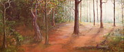 Forest Floor Paintings - Forest light by Kelci Pauk