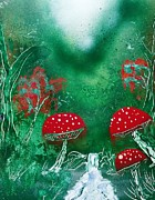 Trippy Painting Originals - Forest mushrooms by Thomas Roteman