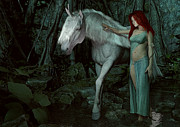 Unicorns Prints - Forest of Enchantments Print by Maynard Ellis