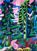 Expressionism Framed Prints - Forest Path in Summer Framed Print by Ernst Ludwig Kirchner