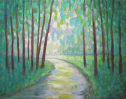 Inspirational. Pointillism Framed Prints - Forest Path Framed Print by Mariam Pare