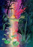 Original Watercolor Art - Forest Pond by Robert Hooper
