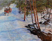 Winterscape Painting Originals - Forest Sleigh Ride by Brent Arlitt