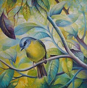 Forest Bird Paintings - Forest song by Elena Oleniuc