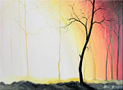 Bright Appearance Painting Prints - Forest Sunset Print by Denisa Laura Doltu