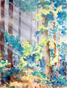 Sun Rays Paintings - Forest Through the Trees by Verone Solilo