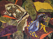 Art Quilts Tapestries Textiles Prints - Forest Toads Print by Lynda K Boardman