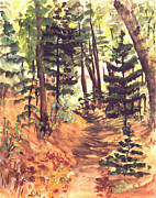Mid West Landscape Art Posters - Forest Trail Michigan Poster by Art By Tolpo Collection