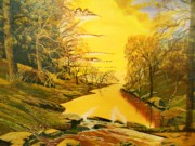 Colors Of Autumn Painting Prints - Forever Gold Print by Seth Wade