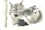 Pencil Drawings Drawings Prints - Forever Wolf Love-The Greeting Print by Joette Snyder