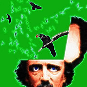 Dreams Digital Art - Forevermore - Edgar Allan Poe - Green - Square by Wingsdomain Art and Photography