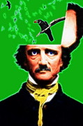 Author Digital Art Framed Prints - Forevermore - Edgar Allan Poe - Green - Standard Size Framed Print by Wingsdomain Art and Photography