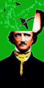 Mustache Digital Art Posters - Forevermore - Edgar Allan Poe - Green Poster by Wingsdomain Art and Photography