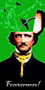 Mustache Digital Art Posters - Forevermore - Edgar Allan Poe - Green - With Text Poster by Wingsdomain Art and Photography