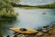 River Scenes Pastels Prints - Forge Pond Print by Melinda Saminski