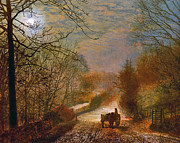 Horse And Cart Metal Prints - Forge Valley Near Scarborough Metal Print by John Atkinson Grimshaw