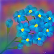 Valentines Day Digital Art Originals - Forget- me -not flowers by Latha Gokuldas Panicker