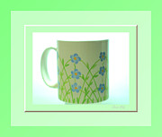 White Glass Art Posters - Forget Me Not. Green Poster by Oksana Semenchenko