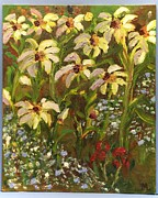 Wild Pansies Painting Posters - Forget Not the Daisies Poster by Mary LaFever
