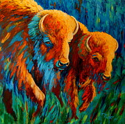 Bison Paintings - Forging Forward by Theresa Paden