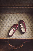 Red Shoe Prints - Forgotten Print by Amy Weiss