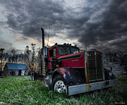 Shed Photo Prints - Forgotten Big Rig Print by Aaron J Groen