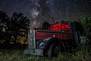 Windshield Posters - Forgotten Big Rig night version Poster by Aaron J Groen
