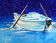 Docked Boat Painting Prints - Forgotten Print by Jackie Carpenter
