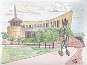 Hall Drawings Prints - Fork Man at the Country Music Hall of Fame Print by Christa Cruikshank