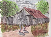 Forks Drawings Posters - Forkman with Old Barn Poster by Christa Cruikshank