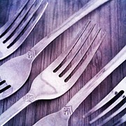 Tabletop Photo Prints - Forks Print by Priska Wettstein
