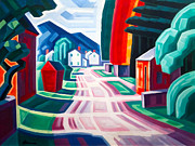 City Streets Digital Art Prints - Form And Light Print by Oscar Bluemner