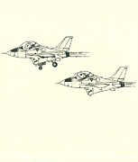 Jet Drawings Originals - Formation by Julio Lopez