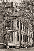 Front Porches Framed Prints - Former Grandeur BW Framed Print by JC Findley