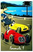American Food Mixed Media Framed Prints - Formule 1 Racing Poster Formula 1 Framed Print by Gary Perron
