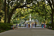 Savannah Parks Gardens Prints - Forsyth Fountain Print by Allen Beatty