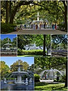 Savannah Parks Gardens Prints - Forsyth Fountain Collage Print by Allen Beatty