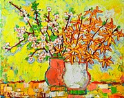 Pink Flower Branch Paintings - Forsythia And Cherry Blossoms Spring Flowers by Ana Maria Edulescu