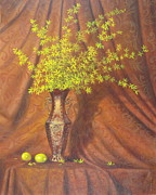Interior Still Life Painting Metal Prints - Forsythia Metal Print by Barry DeBaun