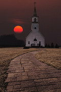 Church Digital Art Prints - Fort Belmont Sunset Print by Aaron J Groen